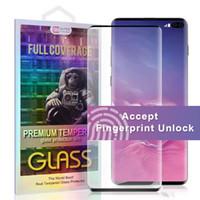 verres trempés iphone complet achat en gros de-Protecteur d'écran convivial pour Galaxy S10 S10 PLUS S10E S9 S8 S9 EDGE 6D avec protection complète et empreinte digitale