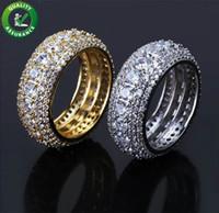 homens anéis reais venda por atacado-Mens Jóias Anéis Hip Hop Designer Bling Congelado Para Fora CZ Real Simulado de Diamante Eternidade Anel de Noivado de Casamento Anel Homens Amor Acessórios