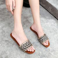 ingrosso sandali donna bohemien-Pantofole donna Sandali estivi Casual Outdoor Slip On Scarpe Fashion Bohemian Sandali Beach Ladies Flats Womens Pantofole