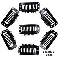 diş telleri toptan satış-Peruk Klipler Saç Uzantıları için 32mm Yapış Klipler Tel Şekli Örgü Peruk Peruk 9 Diş Peruk Klipler Saç Aksesuarı araçları
