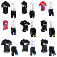 xs team sky одежда оптовых-2019 New Sky Team Велоспорт с короткими рукавами Джерси (нагрудник) шорты Устанавливает Quick Dry Дышащий Велоспорт Одежда 3d гель Pad Размер Xs -5xl 010707f