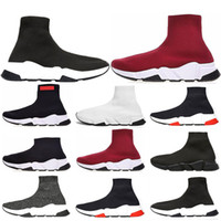 Wholesale cotton football socks online - 2019 New Speed Trainer Luxury Shoes red grey black white Flat Classic Socks Boots Sneakers Women Trainers Runner size