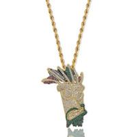 Wholesale woman mask pendant resale online - Hip Hop Necklaces Fashion Men Women Multicolor Grade Quality Zircon Micro Pave Pendant K Gold Plated Indian Style Mask Necklaces LN057