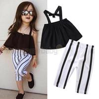 bebek zebra yelekleri toptan satış-Bebek Kız Sling Suit Toddler Kız Bandaj Tüp Üst Pileli Yelek Çocuklar Tasarımcı Kıyafet Giyim Elastik Şerit Baskılı Sıska Pantolon
