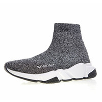 Wholesale chain boot shoes men for sale - Group buy 2019 Designer Speed Trainer Men Women High Sock Shoes Black Blue Red Solid fashion Boots Trainers Runner Walking sneakers