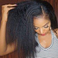 yaki peluca de encaje remy recta al por mayor-Pelucas rizadas rizadas brasileñas con cabello de bebé Remy 13x4 Pelucas de cabello humano Yaki pre-arrancado frontal para mujeres negras