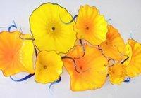 arte de parede de flores amarelas venda por atacado-Casa Decoração Da Parede À Mão À Mão Blown Placas De Flores De Vidro Placas De Arte Da Parede Decoração Do Partido Do Feriado Amarelo