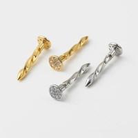 uñas de oro amarillo al por mayor-Personalidad fresca Pendientes de las mujeres amarillo blanco chapado en oro pendientes de uñas para las niñas de las mujeres para el partido de boda bonito regalo