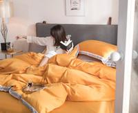 ingrosso set di biancheria da letto di colore giallo-biancheria da letto set biancheria da letto lenzuolo copriletto copriletto federa completo letto matrimoniale king size tessili per la casa giallo seta