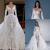 vestidos de rede branca venda por atacado-Ilusão longos vestidos de casamento da luva com trem destacável 2020 White Lace Applique Nude Net Mermaid árabe Dubai Noiva do vestido de casamento