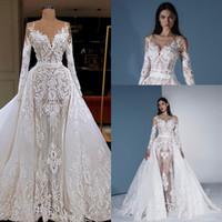 red de ilusiones al por mayor-Ilusión largo vestido de manga desmontable con el tren 2020 Blanca apliques de encaje desnuda sirena de la red árabe Dubai del vestido de novia de la boda