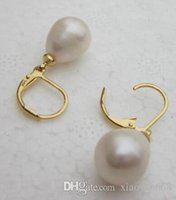 Wholesale huge south sea white pearls for sale - Group buy HOT Huge mm white South Sea Pearl Earrings Yellow