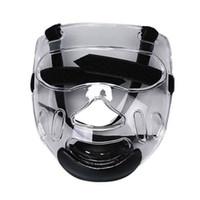 Wholesale plastic head gear resale online - Sports Clear Plastic Face Mask Shield ABS Head Removable Taekwondo Helmet Protective Gear Sports Transparent Protective
