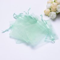 Wholesale- Wholesale 9x12CM 100pcs lot Drawstring Tiffany Blue Organza Bags Favor Wedding Christmas Gift Jewelry Packaging Bags & Pouches