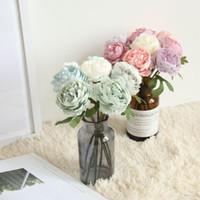 ingrosso bridesmaid hand bouquet-Fiore di nozze di peonia bianca Tea Rose damigella d'onore da sposa mano fiori parete casa giardino decorazione festa Bouquet di fiori DIYMW57892