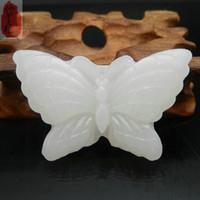 schmetterlingsseil großhandel-Koraba Fine Jewelry 100% Natural White Jade Handgeschnitzte Schmetterling Anhänger Seil Halskette Freies Verschiffen