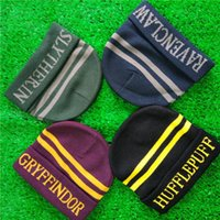 harry potter schädel cap großhandel-Harry School Brief Gryffindor Slytherin Ravenclaw Hufflepuff Hut Skull Cap Cosplay Hüte Beanie Potter Fans Weihnachtsgeschenk Drop Shipping