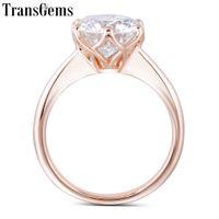 3ct trauringe großhandel-Transgems 14k Rose 3ct 9mm F Farbe Solitaire Moissanite Engagement für Frauen Hochzeitsgeschenk Pink Gold Damen Ring C19032501