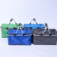 ingrosso cesto di stoccaggio pieghevole-Pieghevole Picnic Camping Basket Isolati Cooler Cool Bag Pieghevole Ice Cooler Box Storage Basket Tote KKA6553