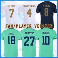 equipamento jersey venda por atacado-19 20 Player versão verdadeira Madrid camisas de futebol PERIGO Jovic Militão camiseta 2019 2020 VINICIUS ASENSIO equipamentos camisa de futebol