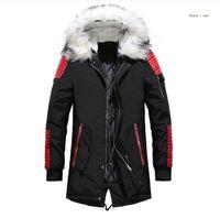 парковая куртка мужская чёрная оптовых-пуховик мужчин Зимние куртки Пальто Черный теплый пуховик с капюшоном Открытый меха Мужские Толстые ветровки Плюс Размер известный бренд M-3XL