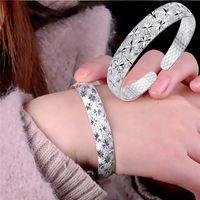 ingrosso bracciali femminili-Bangles 2019 New Fashion Bracciale gioielli in argento Womens Charm braccialetto braccialetto regalo Acero Inoxidable Joyeria Mujer M # 1