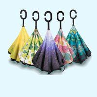 şemsiye fabrikaları toptan satış-Şemsiye Darbe bezi Çift katmanlı C Tipi Ters Uzun şemsiye moda Çiçek desen Düz çubuk Manuel Güneşli şemsiye yeni stil fabrika