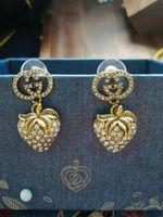 Wholesale stud backs resale online - New Designer Full Rhinestone Letter Tassel Earrings For Women fashion Stud Earring Jewelry Gifts Gold and silver