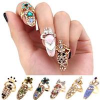 armadura de dedo para mulheres venda por atacado-Anéis de Coroa De Cristal Dedo Anéis Conjuntos de jóias de presente de Moda strass Diamantes coroa armadura Unhas Anel Banda Mulheres Acessórios Venda Quente