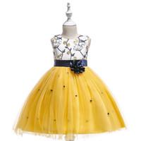свадебные платья оптовых-Конкурс сладкий желтый красный синий Жемчужина колен девушки платья девушки цветка платья принцесса платья ребенка юбка на заказ 2-14 H312168