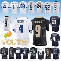 Wholesale drawing cotton resale online - Kids Drew Brees Dez Bryant jersey Dallas Cowboys New Orleans Saints Oakland Rainders jerseys child Design sweater