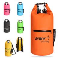 bolsas de engranajes al por mayor-10L Bolsa impermeable Bolsa de almacenamiento de bolsa seca para mujeres hombres Saco Impermeable flotante Bolsas de equipo seco para canotaje Rafting Pesca Natación M234Y