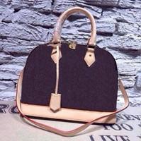 cute handbag achat en gros de-Sac à main pour femme alma bb shell Sac à bandoulière Damier Ebene en cuir verni