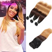 Wholesale color 1b 27 human hair for sale - Group buy Peruvian Human Hair B Bundles With X4 Lace Closure Pieces Ombre Hair B Straight Hair