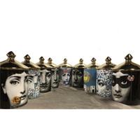 jar velas venda por atacado-Fornasetti Castiçais Candelabros Casa Decoração Requintada Jar Copo de Cerâmica Organizando Vasos de Flores Decoração Marrocos Mumluk Q190529