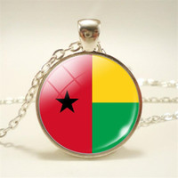 Wholesale mens gothic chain for sale - Group buy New Gothic Punk Guinea Bissau National Flag World Time Gem Glass Cabochon Choker Necklace For Womens Mens Long Sweater Chain Pendant Jewelry