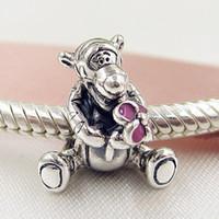 halskette tiger großhandel-Neue Heiße Authentische 925 Sterling Silber Perlen Tiger Charm Passt Europäische Pandora Style Schmuck Armbänder Halskette