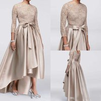 Wholesale beautiful high low prom dresses resale online - Beautiful High Low Lace Evening Dresses Beads Long Sleeve Satin Vestidos De Festa Long Party Dress Prom Mother Formal Celebrity Gowns