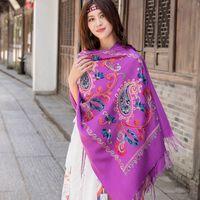 borlas bufanda púrpura al por mayor-Mujeres Nueva púrpura bordar flor bufanda de cachemira invierno cálido borlas finas bufanda de gran tamaño chal moda chal bufandas