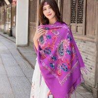 ingrosso le nappe della sciarpa viola-Sciarpe in cashmere con ricami a fiori viola da donna Sciarpe in nappa fine calda invernale Scialle oversize Sciarpe moda scialle