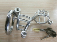 Wholesale locking stainless steel bondage restraints resale online - Steel Chastity Devices Lock Chastity Cage Bondage Male Gear Cock Cage Stainless Steel Penis Cage For Man Cbt New Creative Penis Restraint