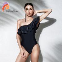 ingrosso swimwear nero spandex-Andzhelika Donne Costume intero Ruffle estate sexy una spalla Swimwear Body Solid Black Beach Costumi da bagno Monokini
