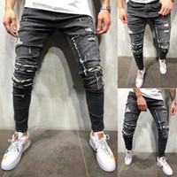 buraco voador venda por atacado-Lavado Mens Buraco Jeans Primavera Verão Azul Light Skinny Bolsos Designer Jean Zipper Fly Calças Lápis