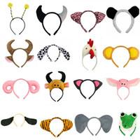 Wholesale cosplay pigs online – design Animal Ear Headband Pig Giraffe Tiger Dog Monkey Cosplay Hairbands Headwear Carnival Children Birthday Party Halloween