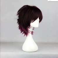 Wholesale amnesia cosplay for sale - WIG MISS Short Brown Mixed Red Layered Wavy Amnesia Shin Anime Cosplay Wig Free Cap