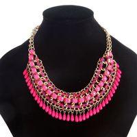 ingrosso collana della boemia della resina-Collier Femme dichiarazione perle di resina Bohemian Collane e ciondoli collana d'oro donne Strain gioielli accessori