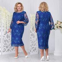 tee-set blau großhandel-Königsblau Plus Size Lace Mutter der Braut Kleider Perlen Bateau Neck Mantel mit langen Ärmeln Hochzeitsgast Kleid Tee Länge Abendkleider