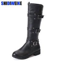botas marrones para el invierno al por mayor-Venta caliente Moda Brown Rodilla Botas Altas Mujeres Para Invierno Cuadrados Tacones Punta Redonda Knight Boots PU Zapatos de Cuero n322