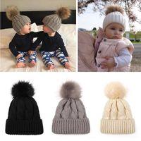 Wholesale kids fur pompom hats for sale - Group buy Children Soft ball Knitted Hat Outdoor Kids Winter Warm Ski Hat Solid Color Fur Pompom Cap Elasticity Knit Beanie Cap LJJT1483