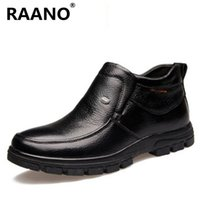 Wholesale handmade dress shoes for men resale online - New Handmade Men Black Genuine Leather Winter Ankle Boots High Quality Thick Wool Warm Snow Boots For Male Business Dress Shoes